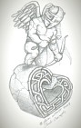 Cupid with Celtic Heart